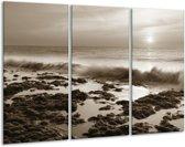 Glas schilderij Zee, Strand   Sepia   120x80cm 3Luik   Foto print op Glas    F006420