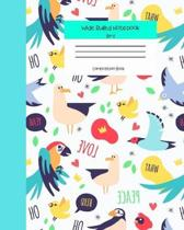Wide Ruled Notebook Bird Composition Book: Cute Kawaii Bird Themed Lined Journal for Adults Teens Kids Students Back to School. 8'' x 10'' 120 Pages. Vo