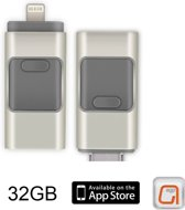 DrPhone Flashdrive 32 GB USB Stick iPhone / iPad / Samsung USB Stick - Micro USB Naar USB Type A - Geheugenstick Data Transfer -  Geschikt voor Android  / Apple  / Mac / Windows - Overzetten bestanden - Plug & Play + Extra Opslag - Zilver