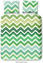 Good Morning 5940-A Zigzag - dekbedovertrek - eenpersoons - 140x200/220 cm  - 100% katoen - groen