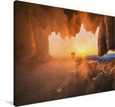 Het Bajkalmeer tijdens een zonsondergang in Siberië Canvas 30x20 cm - klein - Foto print op Canvas schilderij (Wanddecoratie woonkamer / slaapkamer)