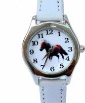 Horloge- Paard- Wit- 26 mm- leer- Gratis paard ketting