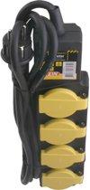 Stekkerdoos voor buiten- 4-voudig - Randaarde - Spatwaterdicht - 3 x 1.5 mm2 Neopreen kabel - 3 meter - Zwart