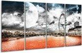 Glasschilderij Modern | Rood, Grijs, Zwart | 160x80cm 4Luik | Foto print op Glas |  F004410