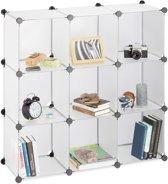 relaxdays vakkenkast 9 vakken - roomdivider kunststof - open boekenkast - steekverbinding doorzichtig