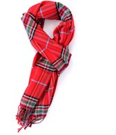 Rode viscose sjaal met Schotse ruit  - Zachte stijlvolle shawl voor heren