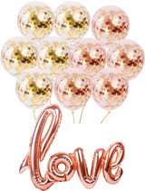 Ballonnen decoratieset DELUXE | Inclusief 11 artikelen | Rose goud kleur | Folie & Latex ballonnen | LOVE XL | Luxe uitvoering | bruiloft | Feest | kinderfeestje | party | Vaderdag| Valentijn | ballon | versiering | Sweet 16, 18, 21 | verjaardag |