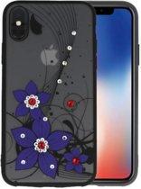 Diamant Narcis Hoesjes Cases voor iPhone X Paars