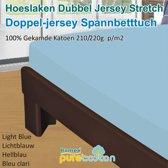 Homéé - Hoeslaken Double dik jersey stretch 210g. p/m2 100% katoen - Blauw - 90/100x200 +30cm