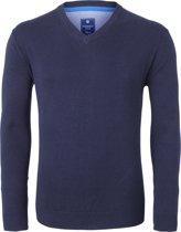 Redmond heren trui katoen - V-hals - marine blauw -  Maat XL