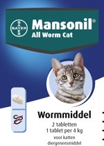 Mansonil All Worm Kat Ontworming  - 2 tabletten
