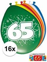 Ballonnen 65 jaar van 30 cm 16 stuks + gratis sticker
