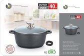 Marble soep/braadpan - Met glazen afdekplaat zwart voor inductie 40 cm 15 Liter StienmeijerGermany