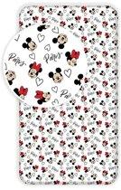 Disney Minnie Mouse Paris - Hoeslaken - Eenpersoons - 90 x  200 cm - Multi