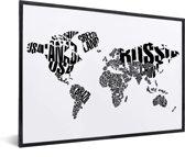 Wereldkaart zwart wit tekst voor aan de muur in lijst wit 40x30 cm