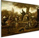 De kwakzalver (De keisnijding) - Schilderij van Jan Steen Plexiglas 160x120 cm - Foto print op Glas (Plexiglas wanddecoratie) XXL / Groot formaat!