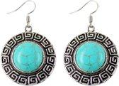 Fako Bijoux® - Oorbellen - Tibetaanse Stijl - Turquoise - Rond