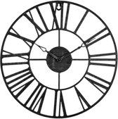 Wandklok Metaal Zwart - Woonkamer Klok Industrieel - Landelijke wandklok - Keukenklok - Vintage Klok Romeinse Cijfers - 36,5 cm Diameter - Inclusief Gratis Batterij
