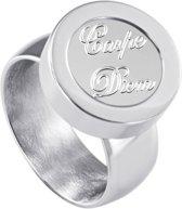 Quiges RVS Schroefsysteem Ring Zilverkleurig Glans 16mm met Verwisselbare Carpe Diem 12mm Mini Munt