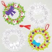 Creatieve kerstkransen om zelf in te kleuren. Leuke knutselsets voor kerst voor jongens en meisjes (6 stuks per verpakking)