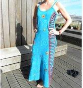 Lange Ibiza, boho jurk turquoise