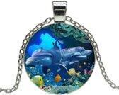 Fako Bijoux® - Ketting - Cabochon - Dolfijnen
