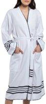 Hamam Badjas Krem Sultan Kimono White Black - maat S - sauna badjas - luxe badjas - zomer badjas - ochtendjas - duster - dunne badjas - (hotelkwaliteit) dames / heren / unisex
