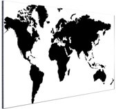 Wereldkaart zwart-wit Aluminium 120x80