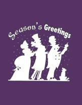 Season's Greetings: Holiday Card Design: Notebook/Journal, 8.5'' x 11'', 200 Pages, College Rule - 11