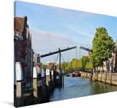 Hangbrug over de wateren van Dordrecht Canvas 90x60 cm - Foto print op Canvas schilderij (Wanddecoratie woonkamer / slaapkamer) / Europese steden Canvas Schilderijen