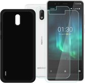 Nokia 3.1 Hoesje Zwart  TPU Siliconen Soft Case + 2X Tempered Glass Screenprotector