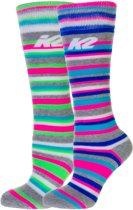 K2 All-Mountain 2-pack   Wintersportsokken - Maat 31-34 - Unisex - grijs/roze/groen/blauw