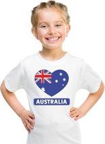 Australie kinder t-shirt met Australische vlag in hart wit jongens en meisjes XS (110-116)