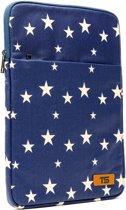 Tech Supplies - MTS13Stars Sleeve voor 13 Inch laptop, vrolijke laptophoes vol met witte sterren op een donker blauwe achtergrond. Sleeve past op de Apple 13.3 inch modellen maar ook op alternatieve laptop merken - Fluweel zacht van binnen