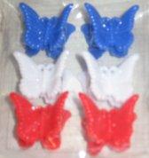 mini haar knijpers - vlinder - 6 stuks