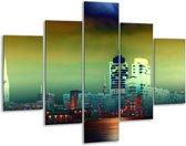 Glasschilderij Steden | Groen, Geel, Paars | 100x70cm 5Luik | Foto print op Glas |  F003431
