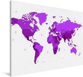 Paarse wereldkaart op een witte achtergrond Canvas 140x90 cm - Foto print op Canvas schilderij (Wanddecoratie woonkamer / slaapkamer)