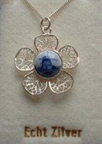 Souvenir Collier 42 cm - Zilver met Delftsblauw steentje 10 mm