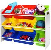 XL Kinderkamer Opbergrek - Kinder Organizer Rek Opbergkast - Opberg Kast Met 9 Uitneembare Opslagbakken - Voor Speelgoed Opbergen - Multi Color