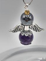 Amethist & Hematiet engeltje Bescherming en Helderheid  zilverkleur