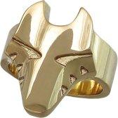 Gouden wolvenkop ring 18mm