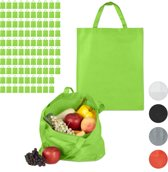 relaxdays 100 x boodschappentas - stoffen tas - effen gekleurd opvouwbaar - 50x40 – groen