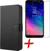 Samsung Galaxy A6 (2018) Hoesje Lederen Book Case Siliconen TPU Zwart + Screenprotector Gehard Glas - van iCall