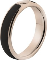 Melano Twisted Tracy resin ring - dames - rosegoldplated + black resin - 5mm - maat 56