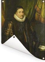 Portret van Willem I - Schilderij van Michiel Jansz van Mierevelt Tuinposter 120x160 cm - Tuindoek / Buitencanvas / Schilderijen voor buiten (tuin decoratie) XXL / Groot formaat!