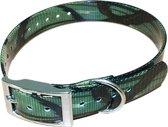 Halsband BioThane Camouflage - GROEN - 600mmX25mm - dubbele gesp