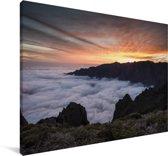 Zonsondergang bij het Nationaal park Caldera de Taburiente in Spanje Canvas 180x120 cm - Foto print op Canvas schilderij (Wanddecoratie woonkamer / slaapkamer) XXL / Groot formaat!