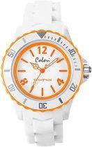 Colori White Summer 5 COL404 Horloge - Siliconen Band - Ø 44 mm - Wit / Oranje