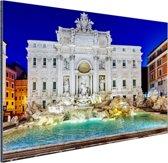 Prachtig verlichte Trevi fontein Rome Aluminium 120x80 cm - Foto print op Aluminium (metaal wanddecoratie)