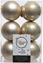 Onbreekbare creme kerstballen 6 cm - 24 stuks - kerstversiering